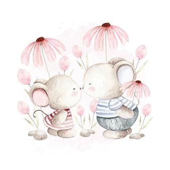 Akwarela dwie słodkie małe myszy