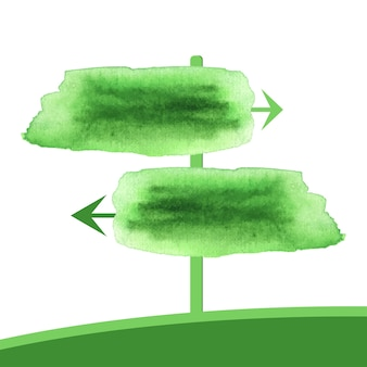 Akwarela dwie zielone strzałki. wektor pointeru wiosna sztandar w akwareli