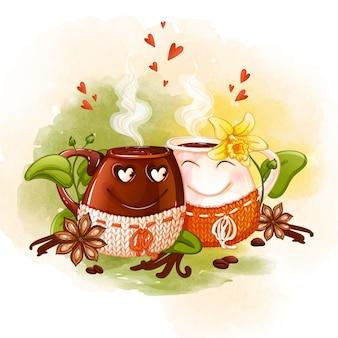 Akwarela dwóch słodkich filiżanek zakochanych w gorącej kawie w ręcznie robionych narzutach.