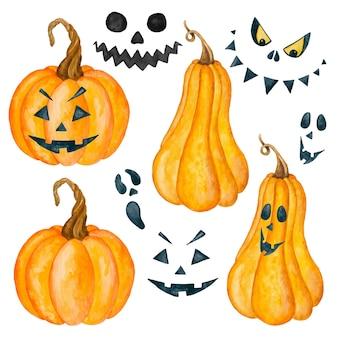Akwarela dynie halloween i upiorne twarze clipart ilustracja na białym tle