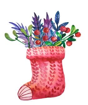 Akwarela dzianinowa skarpeta z świątecznymi jagodami i liśćmi