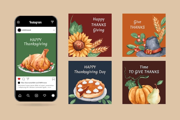 Akwarela dziękczynienia posty na instagramie