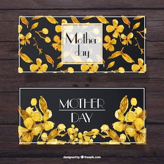 Akwarela dzień matki transparenty z żółtych kwiatów szczegóły