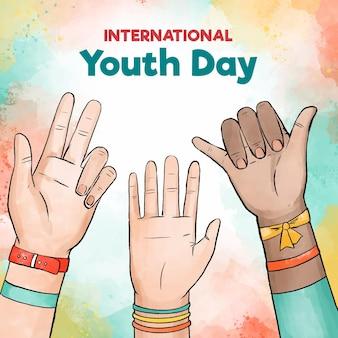 Akwarela dzień młodzieży z rąk