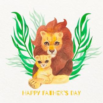 Akwarela dzień ojca ilustracja z lwami