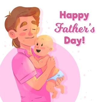 Akwarela dzień ojca z tatą i noworodkiem