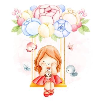 Akwarela dziewczyna i kwiaty