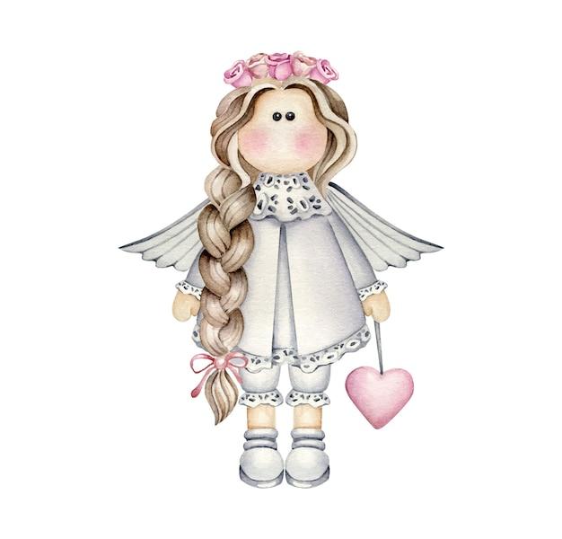 Akwarela dziewczynka anioł