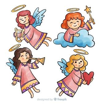 Akwarela dziewczyny anioły kolekcji