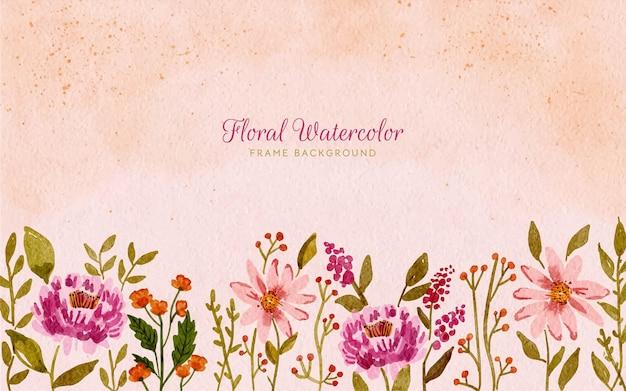 Akwarela dziki kwiatowy tło ramki