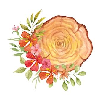 Akwarela dziki wiosenny kwiat z drewnianą ramą