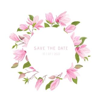 Akwarela egzotyczny wieniec kwiatów magnolii, kwiatowy rama. ilustracja wektorowa wiosna rocznika zwrotnik kwiat transparent. nowoczesne zaproszenie na ślub, modna kartka z życzeniami, luksusowy design, letni plakat