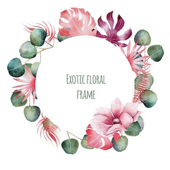 Akwarela egzotycznych kwiatów ramki