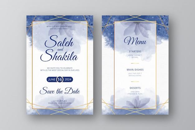 Akwarela elegancka niebieska karta zaproszenie na ślub z abstrakcyjnym stylu wieniec złotej ramie szablonu