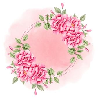 Akwarela elegancka urocza różowa ramka w kwiaty