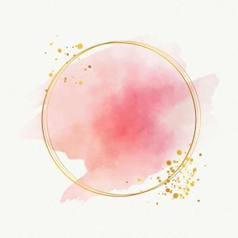 Akwarela elegancka złota rama szablon