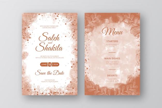 Akwarela elegancki czekoladowy ślub zaproszenia karty z szablonu stylu abstrakcyjnego