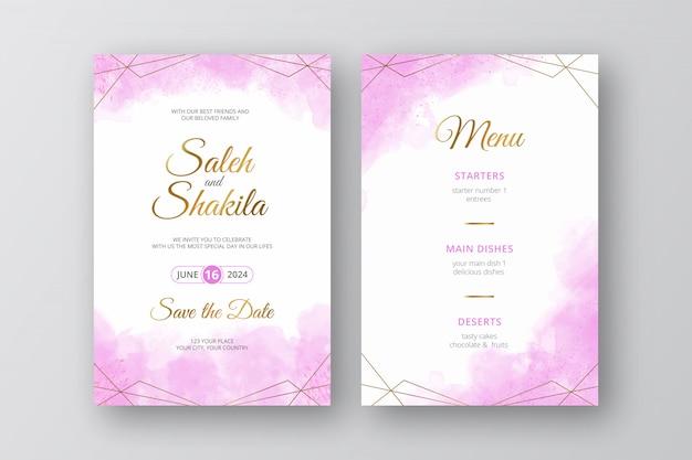 Akwarela elegancki różowy zaproszenia ślubne z szablonu wieniec streszczenie rama złoty styl