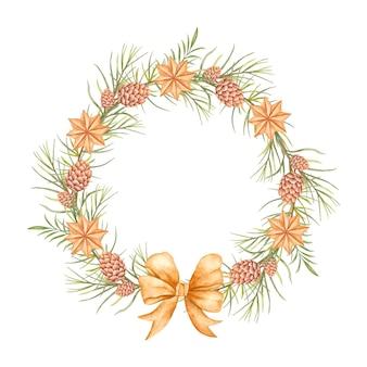 Akwarela elegancki styl dekoracyjny wieniec świąteczny z szyszką i gwiazdami