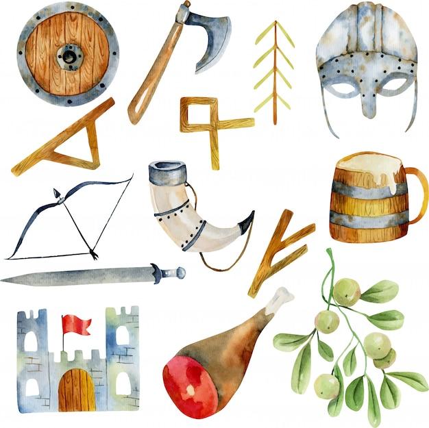 Akwarela elementów kultury wikingów