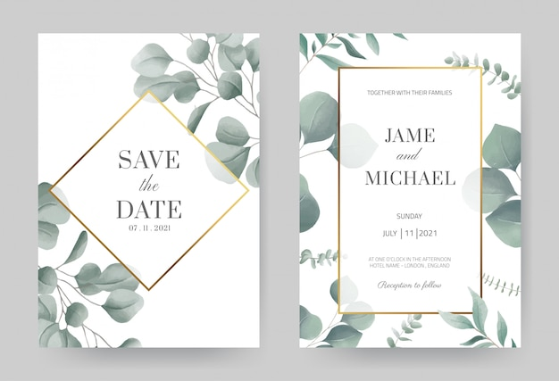 Akwarela eukaliptusa wesele zaproszenie z złotą ramą. piękne białe tło karty. ustaw szablon karty.