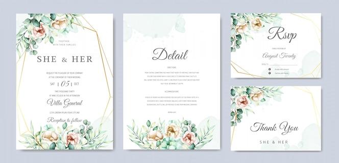 Akwarela eukaliptusa wesele zaproszenie zestaw kart