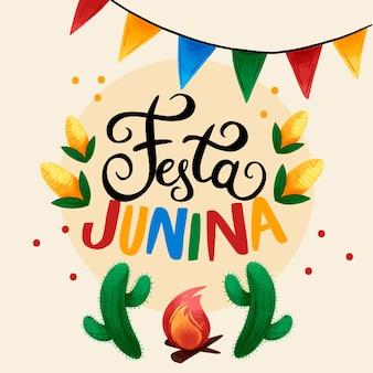 Akwarela festa junina tło
