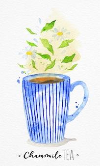 Akwarela filiżanka z rysunkiem herbaty rumianku