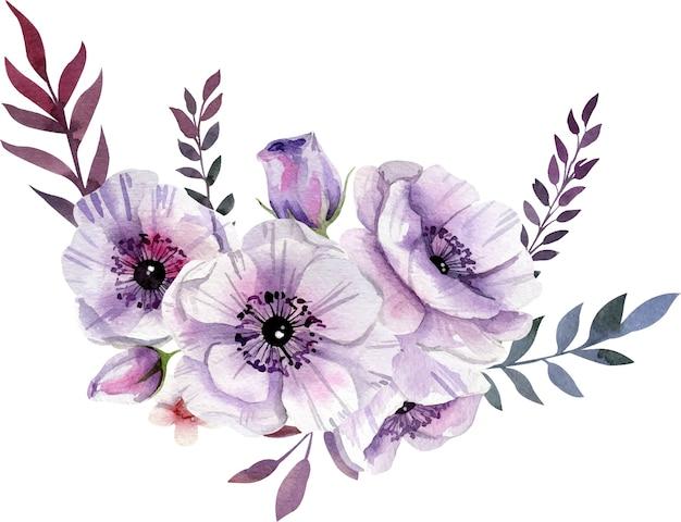 Akwarela fioletowa kompozycja kwiatowa w stylu boho