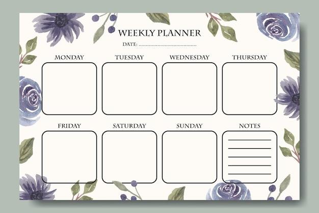 Akwarela fioletowe kwiatki tygodniowy planer szablonu projektu do druku