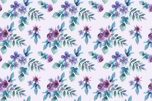Akwarela fioletowe kwiaty wzór