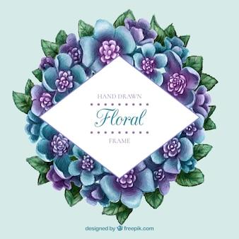 Akwarela fioletowy i niebieski kwiat etykieta