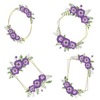 Akwarela fioletowy kwiat ramki ze złotą obwódką