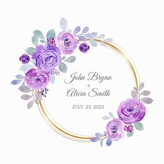 Akwarela fioletowy wieniec różany ze złotym kółkiem