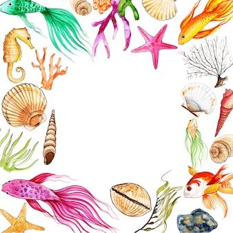 Akwarela fish & underwater frame