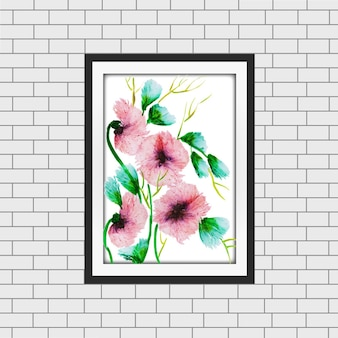 Akwarela floral frame mockup