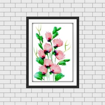 Akwarela Floral Frame Mockup Premium Wektorów