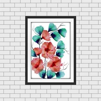 Akwarela Floral Frame Mockup Darmowych Wektorów