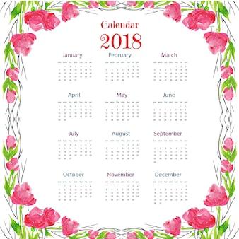 Akwarela floral kolorowe 2018 kalendarza
