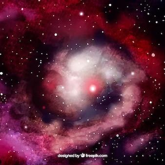 Akwarela galaktyk tle z czerwonawo-dzwonka