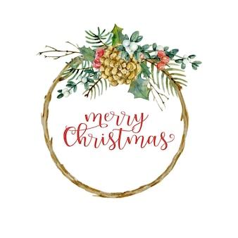 Akwarela gałązka świąteczna rama z gałęziami szyszka sosny gałęzie jodły holly jagody i jemioła