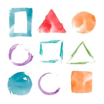 Akwarela geometryczne kształty wektor zestaw