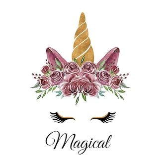 Akwarela głowa jednorożca z fioletowym wieńcem kwiatów