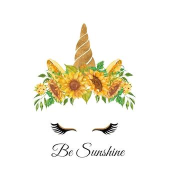 Akwarela Głowa Jednorożca Z Kwiatowym Wiankiem Słonecznika żółty Premium Wektorów