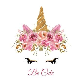 Akwarela głowa jednorożca z różowym wieńcem kwiatowym