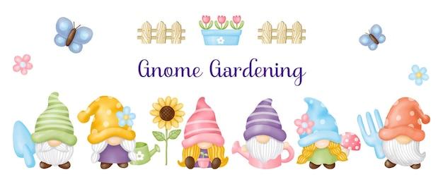 Akwarela gnome ogród, malarstwo cyfrowe