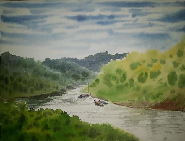 Akwarela górski widok na rzekę ilustracja malarstwo pejzażowe