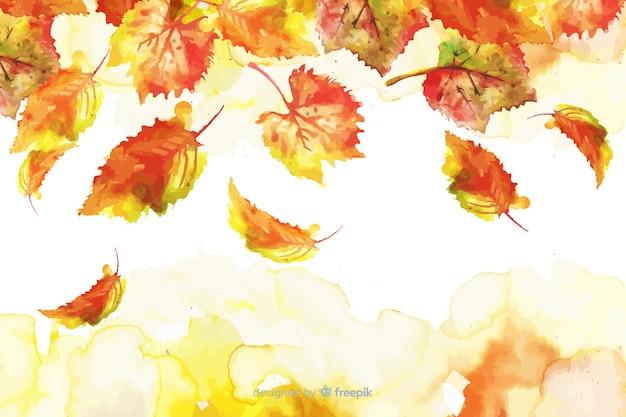 Akwarela gradientowe liście jesienią tło