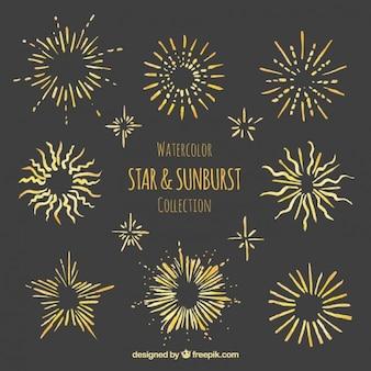 Akwarela gwiazdka kolekcja sunburst