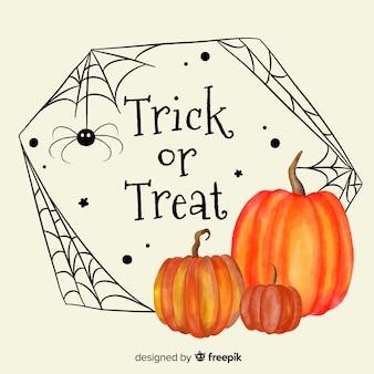 Akwarela halloween dynie ramki